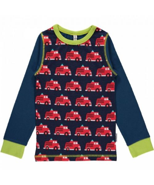 Maxomorra Long Sleeve Front Top Fire Truck